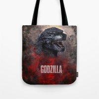 godzilla Tote Bags featuring Godzilla by Denda Reloaded