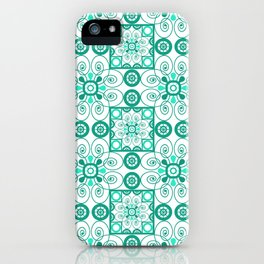 White turquoise ornament arabic iPhone Case