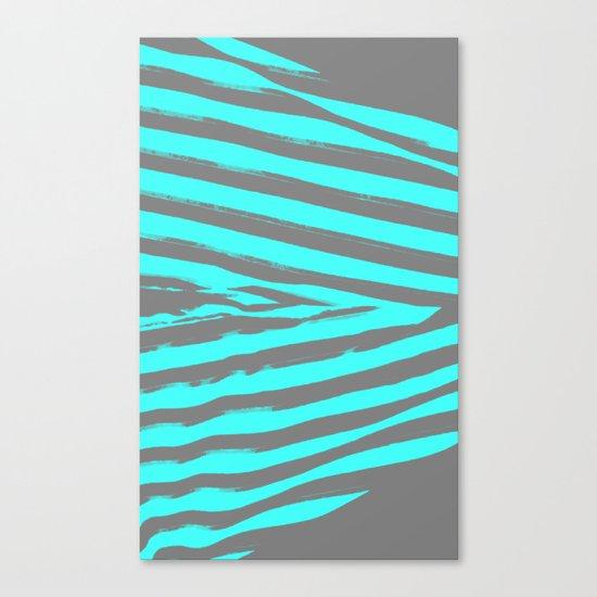 Aqua & Gray Stripes Canvas Print