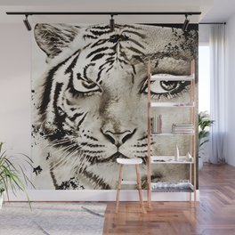 Tiger or woman Wall Mural