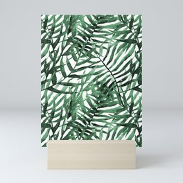 Dark Green Tropical Leaves Mini Art Print