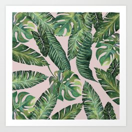 Jungle Leaves, Banana, Monstera Pink #society6 Art Print