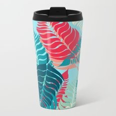 Leave Me Layered (Aqua Red) Metal Travel Mug