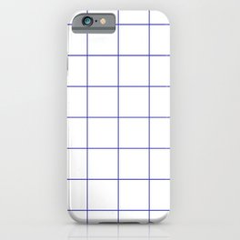 Graph Paper (Navy Blue & White Pattern) iPhone Case