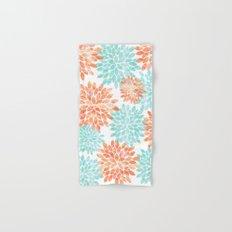 aqua and coral flowers Hand & Bath Towel
