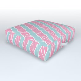 Light Pink and Blue Stripes Outdoor Floor Cushion