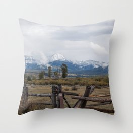 Fence and Mountains with Clouds Throw Pillow