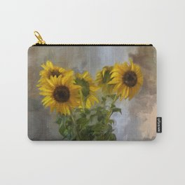 Five Sunflowers Centered Carry-All Pouch