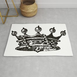 Royal Crown | Vintage Crown | Black and White | Rug