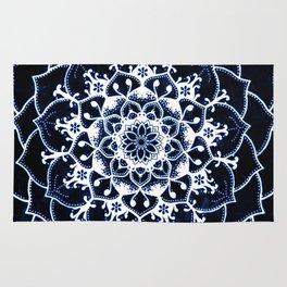 Indigo Glowing Spirit Blue & White Flower Mandala Rug