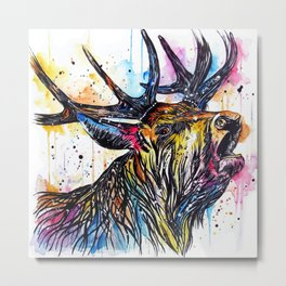 Colourful Stag Metal Print