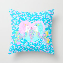 Mermicorn Twins Candy and Bubbles Throw Pillow