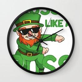 Leprechaun Floss like a Boss St Patricks Day Gift Kids Wall Clock