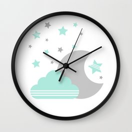 Moon And Cloud Wall Clock