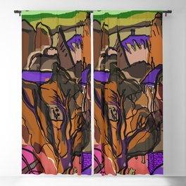 """Landscape from my Home in Autumn - Piliscsev """"Paper Drawings/Painting"""" Blackout Curtain"""