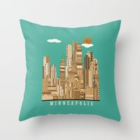 minneapolis Throw Pillows featuring Minneapolis skyline by bri.buckley