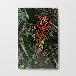 Spiky Red Flower Woodcut Metal Print