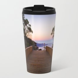 Sitting on the dock of the cliff Travel Mug