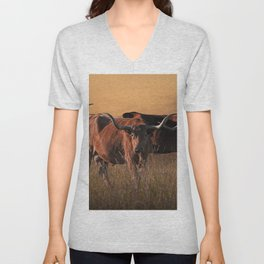 Texas Longhorn Steers on the Prairie at Sunset Unisex V-Neck