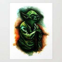 yoda watercolour Art Print