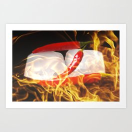 Fire and Ice, Sharp chilis in flames Art Print