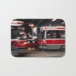 Red buses street Bath Mat