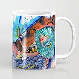 Mermaid blue and red Coffee Mug