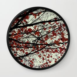 red maple leaves on a pea soup day Wall Clock