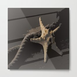 Starfish and boat rope on the pier - dark background - #Society6 - #buyart Metal Print