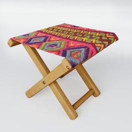 Colorful Guatemalan Alfombra Folding Stool