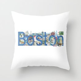 Boston - Cityscapes by Stephanie Hessler Throw Pillow