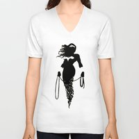 justice league V-neck T-shirts featuring justice Silhouette #4 by iankingart