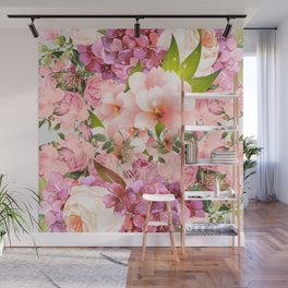 Natural Pink Flowers Wall Mural