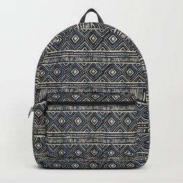 African Tribal Blockprint // Navy & Eggshell Backpack