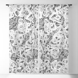 modern love in black and white Sheer Curtain