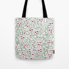 Winter Berries in Gray Tote Bag