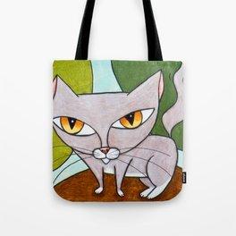 Sweet Gray Kitty Tote Bag