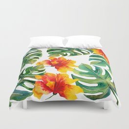 Monstera And Hibiscus Duvet Cover