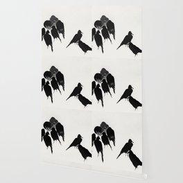9 Crows Minimal Ink Art Illustration Wallpaper