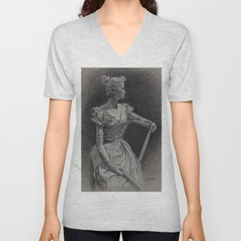 Sitting Lady, Dame Assise, Paul du Bois, Bruxelles Unisex V-Neck