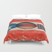 puerto rico Duvet Covers featuring Old Vintage Acoustic Guitar with Puerto Rican Flag by Jeff Bartels