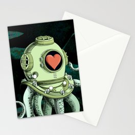 octopus diver in love Stationery Cards