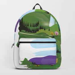 Cartoon landscape Backpack