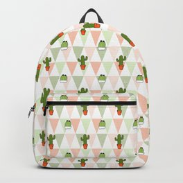 Hand painted pink coral green geometrical cactus Backpack
