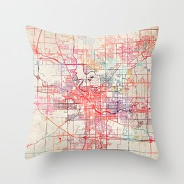 South Bend map Indiana painting Throw Pillow