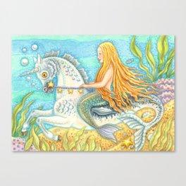 MERMAID AND SEA STALLION - Brack Fantasy Canvas Print