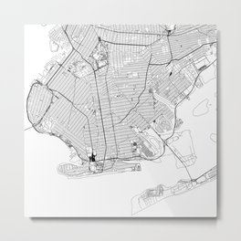 Brooklyn White Map Metal Print