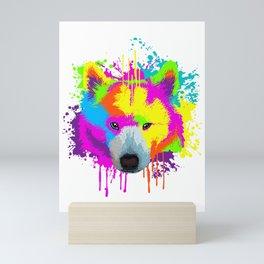 Splash Art Samoyed Dog Lover Gift Idea Mini Art Print