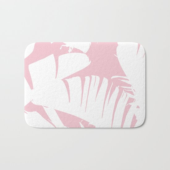 White on Pink Tropical Banana Leaves Pattern Bath Mat