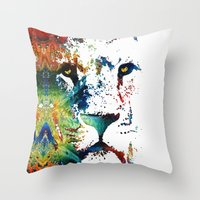 nfl Throw Pillows featuring Colorful Lion Art By Sharon Cummings by Sharon Cummings